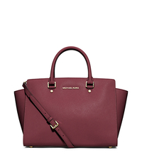 Selma Large Saffiano Leather Satchel - CLARET - 30S3GLMS7L