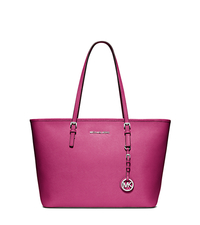 Jet Set Travel Saffiano Leather Tote - DEEP PINK - 30S4STVT2L