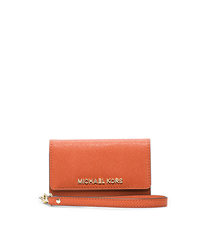 Saffiano Leather Phone Wristlet - ORANGE - 32F4GELL2L