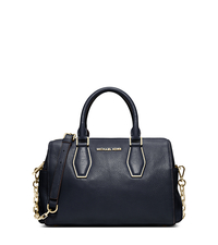 Vanessa Leather Medium Satchel - NAVY - 30F4GVNS6L