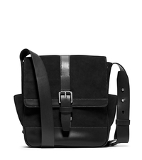 Conor Suede and Leather Large Messenger - BLACK - 33F4SNOM3S