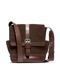 Conor Suede and Leather Large Messenger - BROWN - 33F4SNOM3S