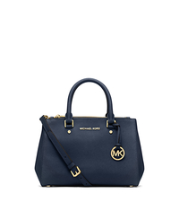 Sutton Small Saffiano Leather Satchel - NAVY - 30F4GSUS5L