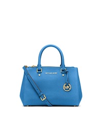 Sutton Small Saffiano Leather Satchel - HERITAGE BLUE - 30F4GSUS5L