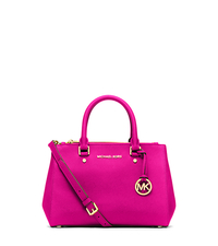 Sutton Small Saffiano Leather Satchel - RASPBERRY - 30F4GSUS5L