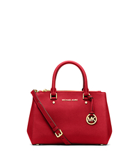 Sutton Small Saffiano Leather Satchel - RED - 30F4GSUS5L