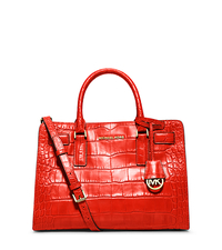 Dillon Embossed-Leather Satchel - MANDARIN - 30H4GAIS3E