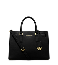 Dillon Saffiano Leather Satchel - BLACK - 30H4GAIS3L