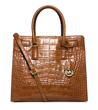 Dillon Large Embossed-Leather Tote - WALNUT - 30H4GAIT3E