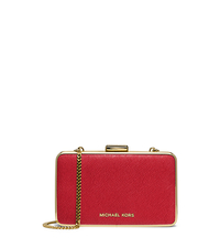 Elsie Saffiano Leather Box Clutch - RED - 30H4GBXC1L