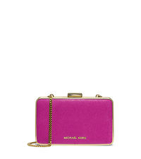 Elsie Saffiano Leather Box Clutch - FUCHSIA - 30H4GBXC1L
