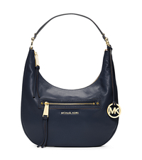Rhea Medium Leather Shoulder Bag - NAVY - 30H4GEZL2L