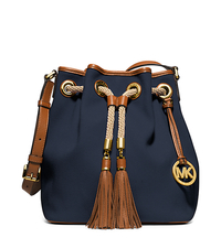 Marina Large Canvas Shoulder Bag - NAVY - 30H4GMAL3C