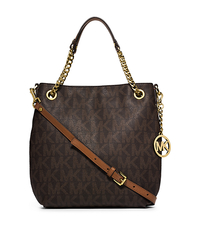 Jet Set Medium Logo Chain Shoulder Bag - BROWN - 30H4GTCE6B