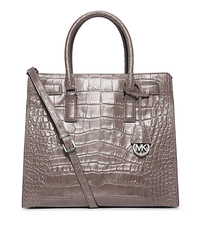 Dillon Large Embossed-Leather Tote - GREY - 30H4SAIT3E