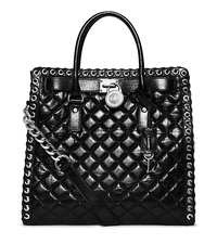 Hamilton Large Grommet Quilted-Leather Tote - BLACK - 30H4SHGT3L