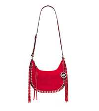 Rhea Studded Suede Shoulder Bag - DARK RED - 30H4SRGL5S