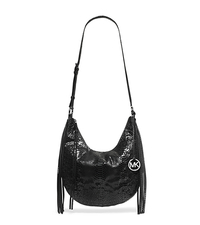 Rhea Embossed-Leather Shoulder Bag - BLACK - 30H4TECL2G