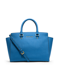 Selma Large Saffiano Leather Satchel - HERITAGE BLUE - 30S3GLMS7L