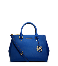 Sutton Medium Saffiano Leather Satchel - ELECTRIC BLUE - 30S4GTVS6L