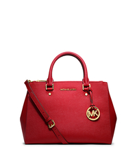Sutton Medium Saffiano Leather Satchel - RED - 30S4GTVS6L