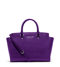 Selma Medium Saffiano Leather Satchel - GRAPE - 30T3SLMS7L