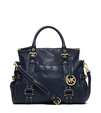 Lea Large Leather Satchel - NAVY - 30T4GLAS3L