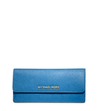 Jet Set Travel Slim Saffiano Leather Wallet - HERITAGE BLUE - 32F3GTVE7L