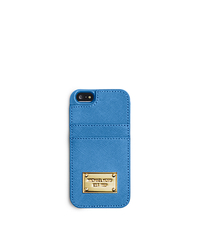 Saffiano Leather Pocket Phone Case for iPhone 5 - NAVY - 32F4GELL5L