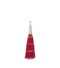 Studded Leather Tassel Keychain - RED - 32H4SKCK1L