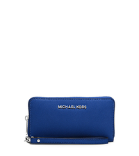 Jet Set Travel Large Saffiano Leather Smartphone Wristlet - ELECTRIC BLUE - 32H4STVE9L