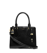 Casey Small Leather Satchel - BLACK - 31F4GCYS1L