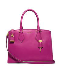 Casey Leather Large Satchel - FUSCHIA - 31F4GCYS3L