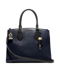 Casey Leather Large Satchel - NAVY/BLACK - 31F4MCYS3T