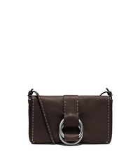 Julie Grained Calf Leather Double-Ring Clutch - CHOCOLATE - 31F4TJUC2L