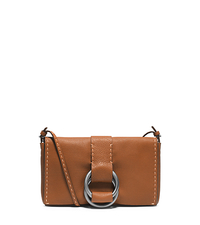 Julie Grained Calf Leather Double-Ring Clutch - LUGGAGE - 31F4TJUC2L