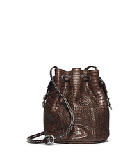 Julie Drawstring Python Small Crossbody - CHOCOLATE - 31F4TJUX1P