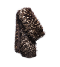Tweed Fox Fur Scarf - ONE COLOR - 707AKD305