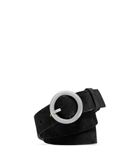 Round-Buckle Suede Belt - BLACK - 31F4TBLR2S