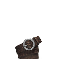 Round-Buckle Python Belt - CHOCOLATE - 31F4TBLA2P