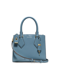 Casey Calf Leather Small Satchel - CORNFLOWER - 31F4GCYS1L
