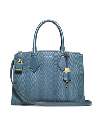 Casey Sueded Snakeskin Large Satchel - CORNFLOWER - 31F4MCYS3Z
