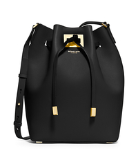 Miranda Large Leather Messenger - BLACK - 31H4GMDM3L