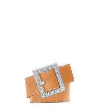 Pavé-Embellished Vachetta Leather Belt - PEANUT - 31H4TBLA4L