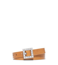 Pavé-Embellished Vachetta Leather Belt - PEANUT - 31H4TBLR6L