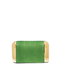 Leyla Small Sueded Snakeskin Clutch - LAWN - 31S5GLYC1Z