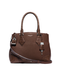 Casey Medium Leather and Crocodile Satchel - NUTMEG - 31S5PSCS2R