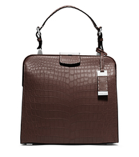 Millicent Medium Crocodile Top-Handle Bag - NUTMEG - 31S5TMID2R