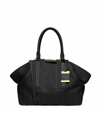 Lexi Large Sueded Snakeskin Satchel - BLACK - 31H4MLXS3Z