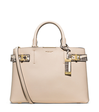 Bette Large Leather and Python Satchel - VANILLA - 31T5GBTS3V